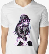 SCHOOLGIRL (Glitch) - Sad Japanese Anime Aesthetic Men's V-Neck T-Shirt