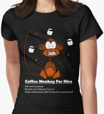 Coffee Monkey For Hire Womens Fitted T-Shirt