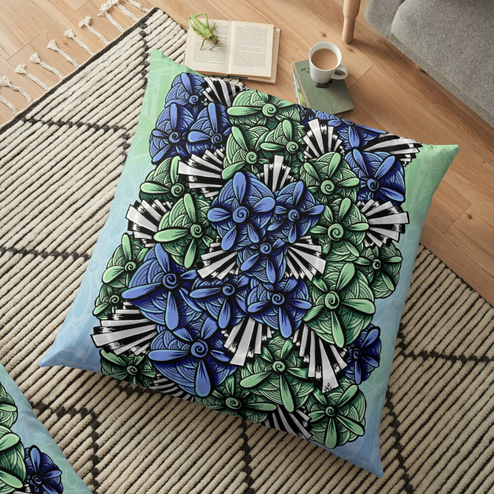 Zentangle Petal-Floodlights Floor Pillow