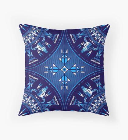 Buffalo Gathering Blue Throw Pillow