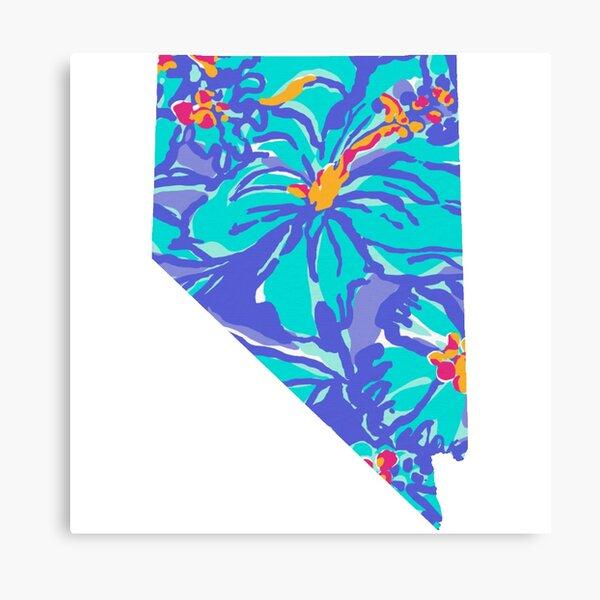 Floral Blues Nevada Canvas Print