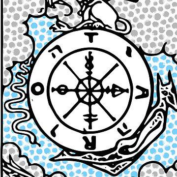 Modern Tarot Design - 10 Wheel of Fortune by annaleebeer