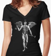 Flayed Man Spirit of the Occult Women's Fitted V-Neck T-Shirt