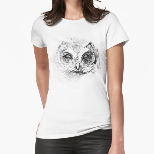 Owl Sketch Fitted T-Shirt