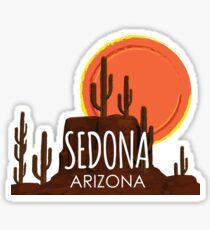Sedona, Arizona Cactus Red Rocks Desert Sun Sticker