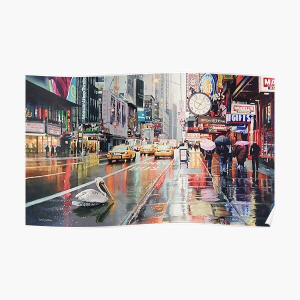 """""""Detour"""" Pelican in New York Watercolor Poster"""