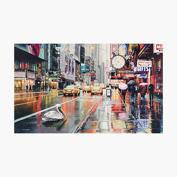 """Detour"" Pelican in New York Watercolor Photographic Print"