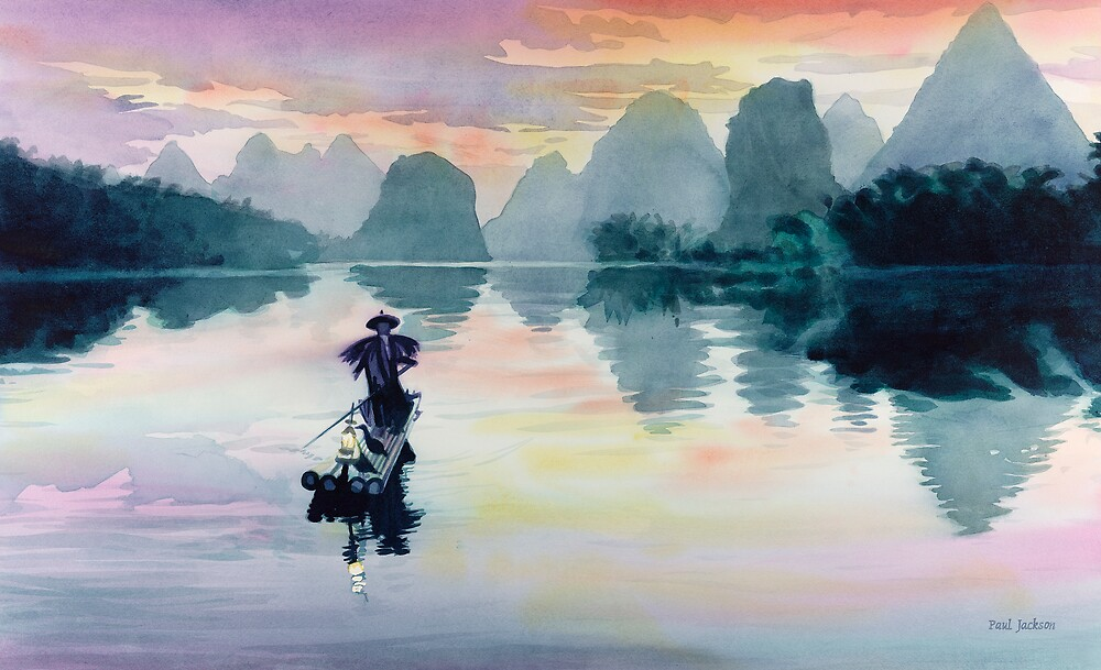 """Cormorant Fisherman"" Watercolor by Paul Jackson"