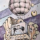 Retro Sailboat by Byron  McBride