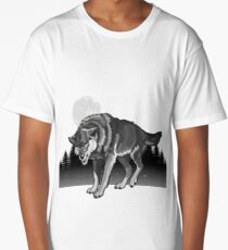 Wolf in the Wild Moon  Long T-Shirt