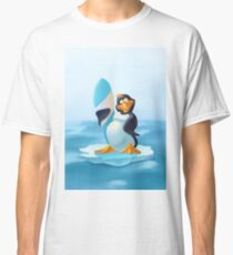Cute penguin with surf board Classic T-Shirt