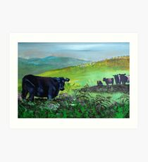 Cows on Dartmoor Landscape Painting Art Print