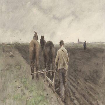 Ploegende boer-Anton Mauve by LexBauer