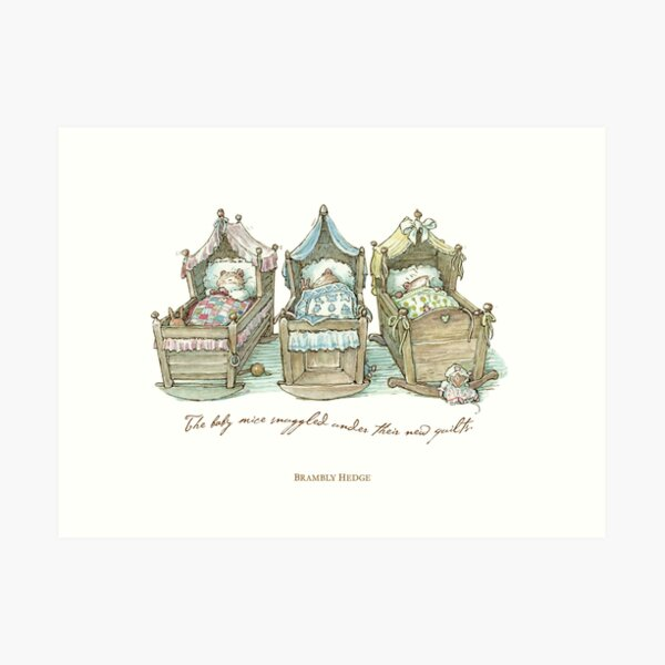 The Brambly Hedge baby mice snuggle in their cots Art Print