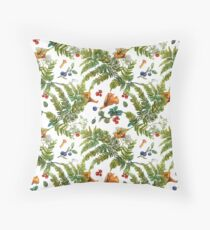 Forest ferns, berries and mushrooms Throw Pillow