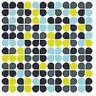 Geometric Petal Pattern in Blue, Green and Gray by patternplaten
