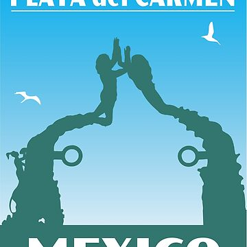 Vintage Travel Poster Mexico Playa del Carmen Portal Maya Statue by HotHibiscus