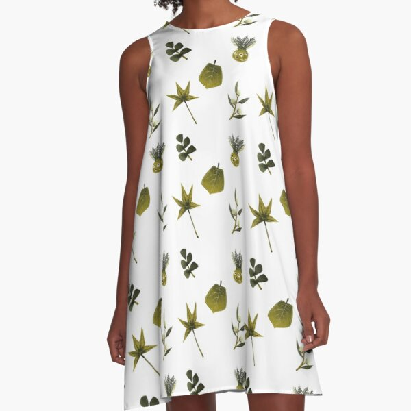 Mesozoic Greens A-Line Dress