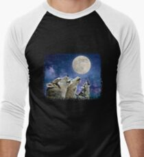 Howling Wolves Under The Moon  Men's Baseball ¾ T-Shirt