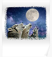 Howling Wolves Under The Moon  Poster