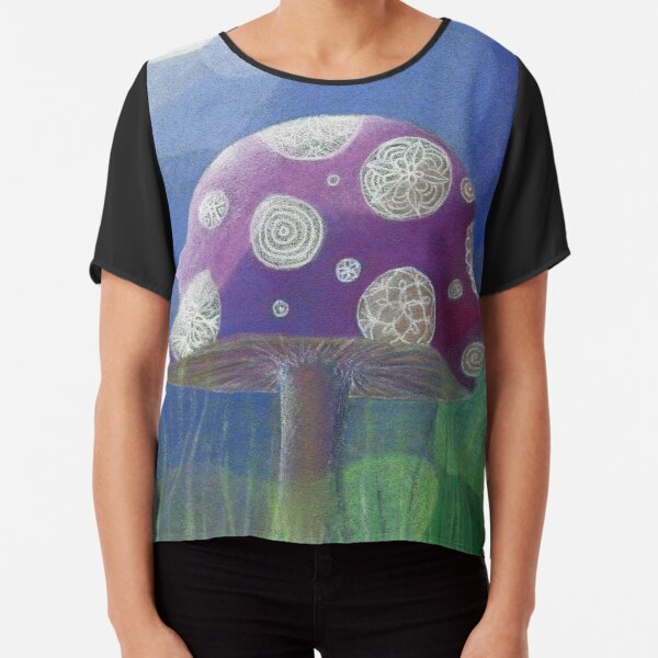 Purple Mandala Fungi Chiffon Top