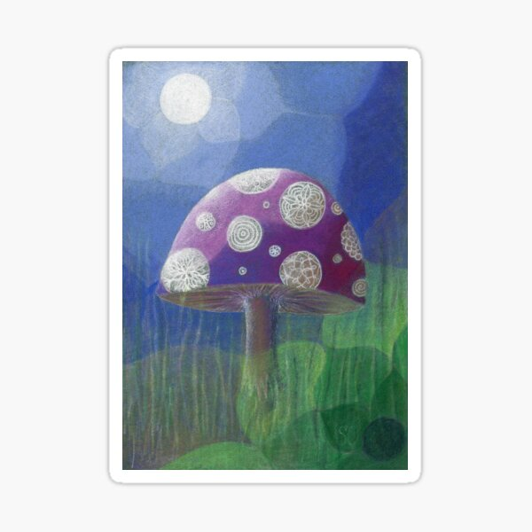 Purple Mandala Fungi Sticker