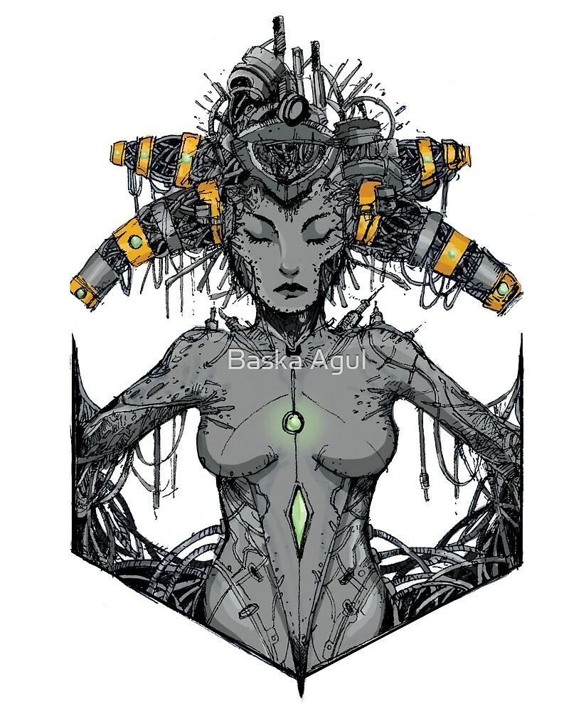 « cyber reine, cyberpunk, femmes, robot, » par Baska Agul
