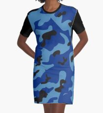 Blue Camo Graphic T-Shirt Dress