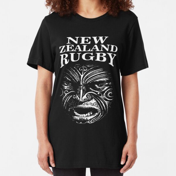"""New Zealand Rugby Shirt Maori Inspired Kiwi silver fern - The Rugby Team """"All Blacks"""" of New Zealand  Slim Fit T-Shirt"""