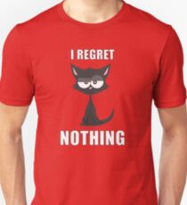 I Regret Nothing   Cat  Slim Fit T-Shirt