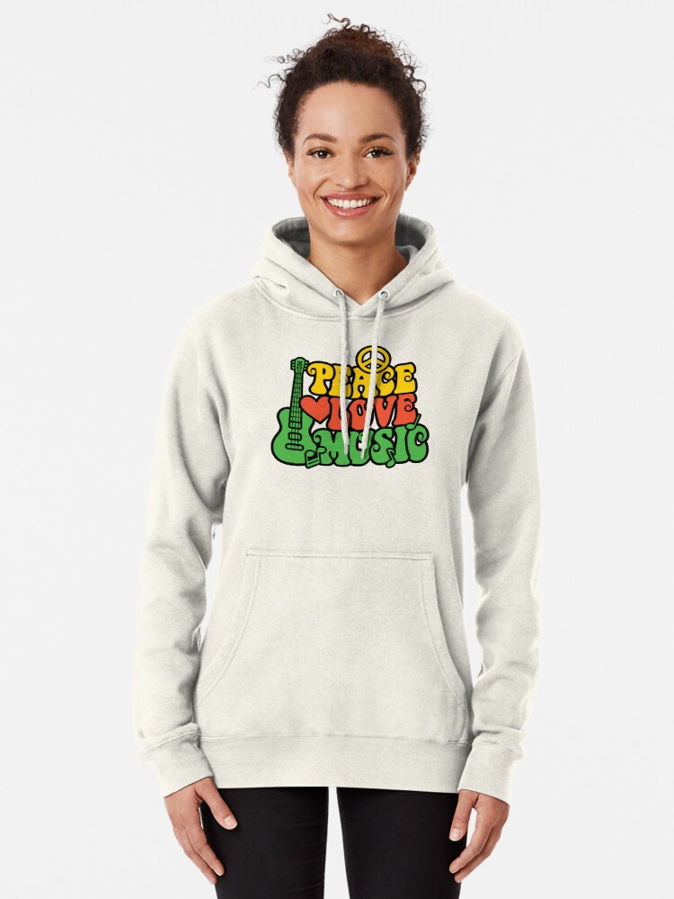 Alternative Ansicht von Reggae Peace-Love-Musik Hoodie