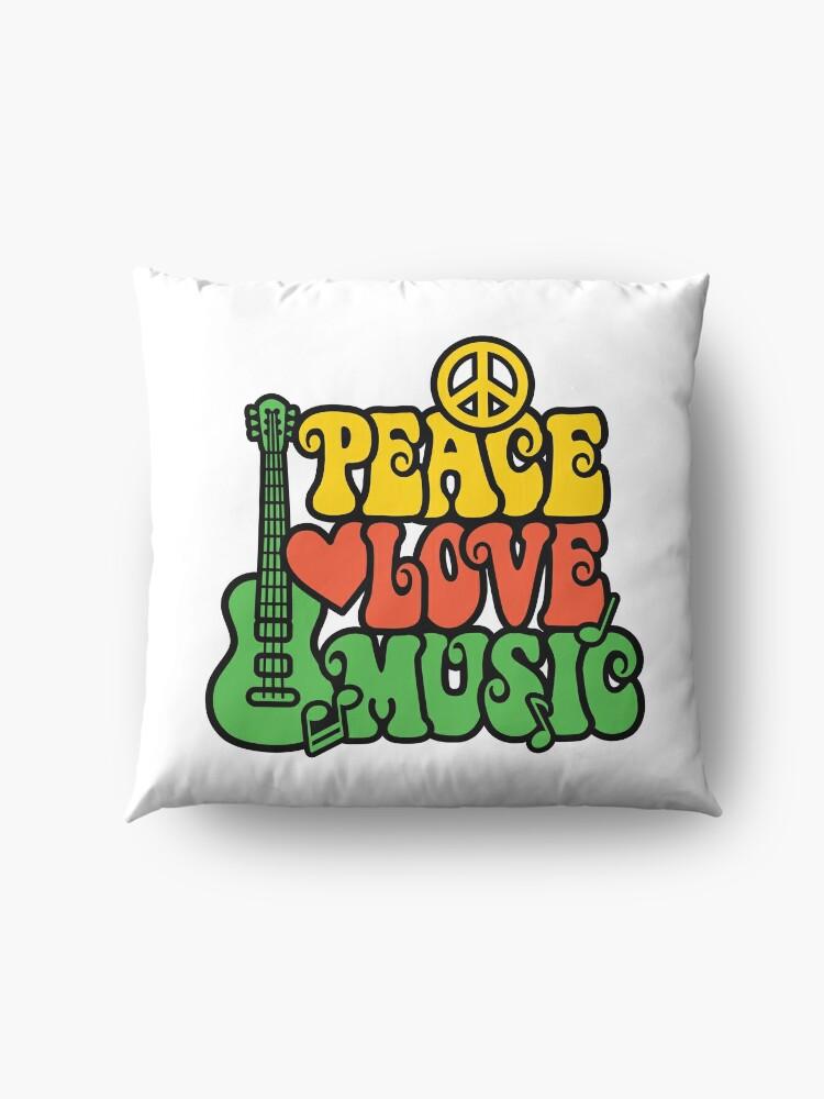 Alternative Ansicht von Reggae Peace-Love-Musik Bodenkissen