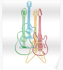 Four Guitars - colorful effect Poster