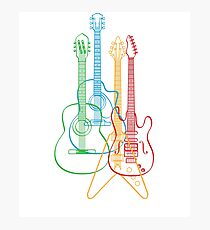 Four Guitars - colorful effect Photographic Print