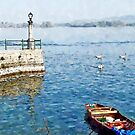 Arona: boat pier and three swans by Giuseppe Cocco