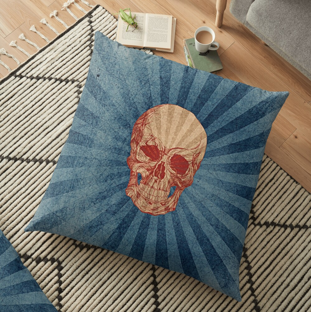 Retro Skull Floor Pillow