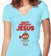 Jesus Happy Birthday Boy Women's Fitted V-Neck T-Shirt
