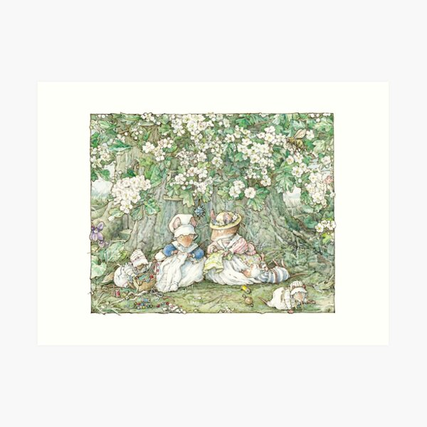 Brambly Hedge - Hawthorn blossom and babies Art Print