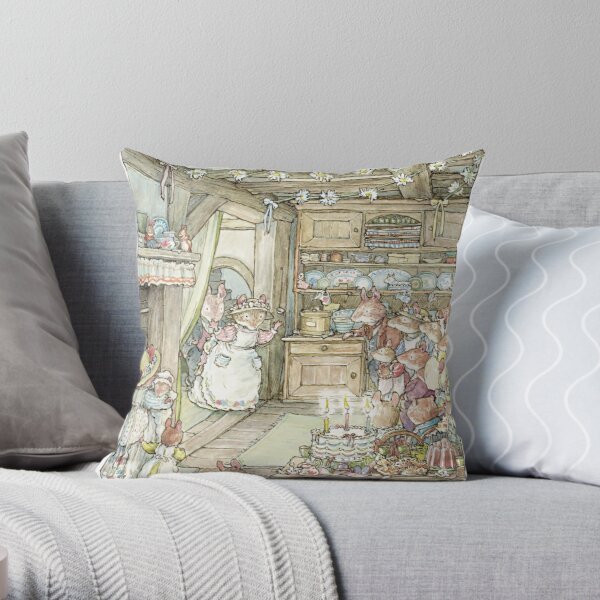 Surprise at Mayblossom cottage Throw Pillow