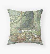 Cutaway of Dustys Boat Throw Pillow