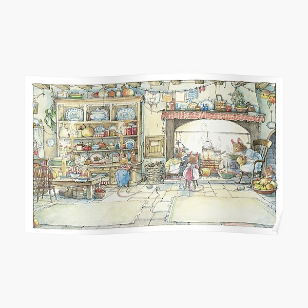 The Kitchen At Crabapple Cottage Poster