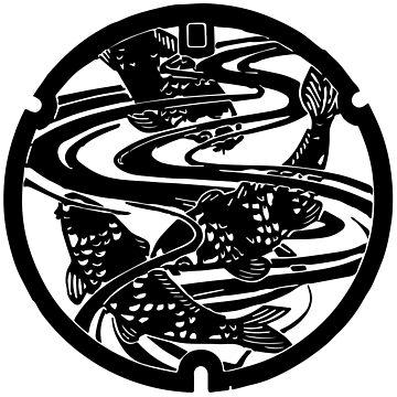 Japan Manhole Cover: Koi Fish by drawnye