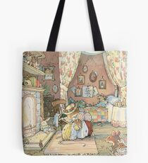 Lady Woodmouse gets Primrose ready for bed Tote Bag