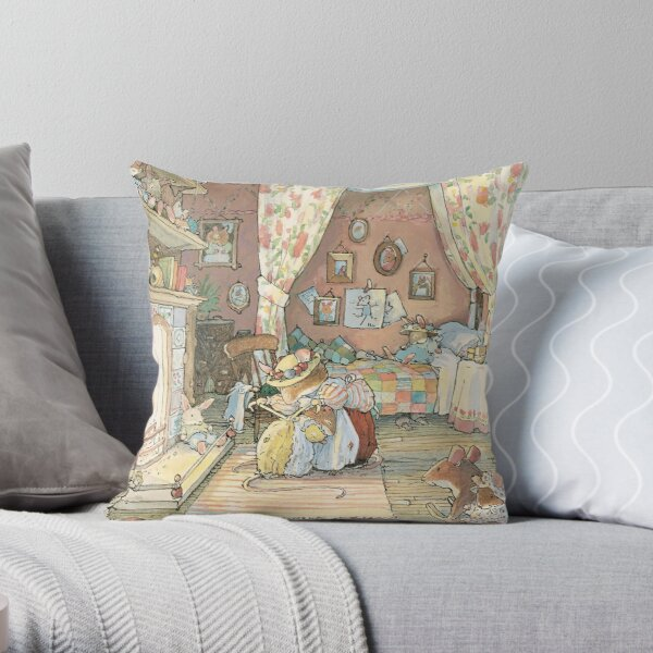 Lady Woodmouse gets Primrose ready for bed Throw Pillow