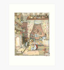 Lady Woodmouse gets Primrose ready for bed Art Print