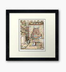 Lady Woodmouse gets Primrose ready for bed Framed Print