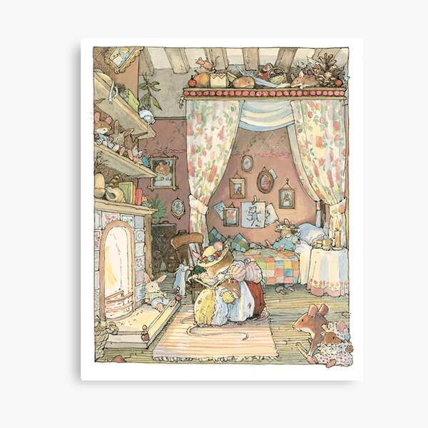 Lady Woodmouse gets Primrose ready for bed Canvas Print