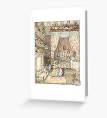 Lady Woodmouse gets Primrose ready for bed Greeting Card
