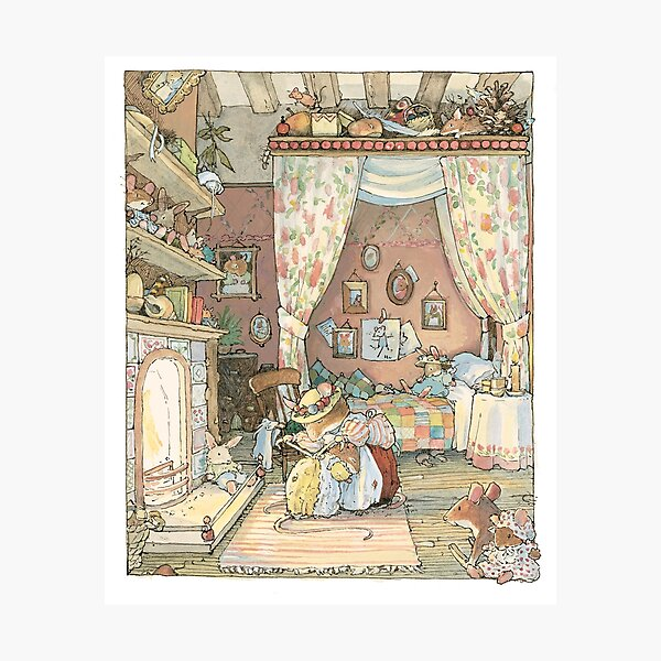 Lady Woodmouse gets Primrose ready for bed Photographic Print