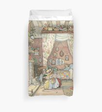 Lady Woodmouse gets Primrose ready for bed Duvet Cover